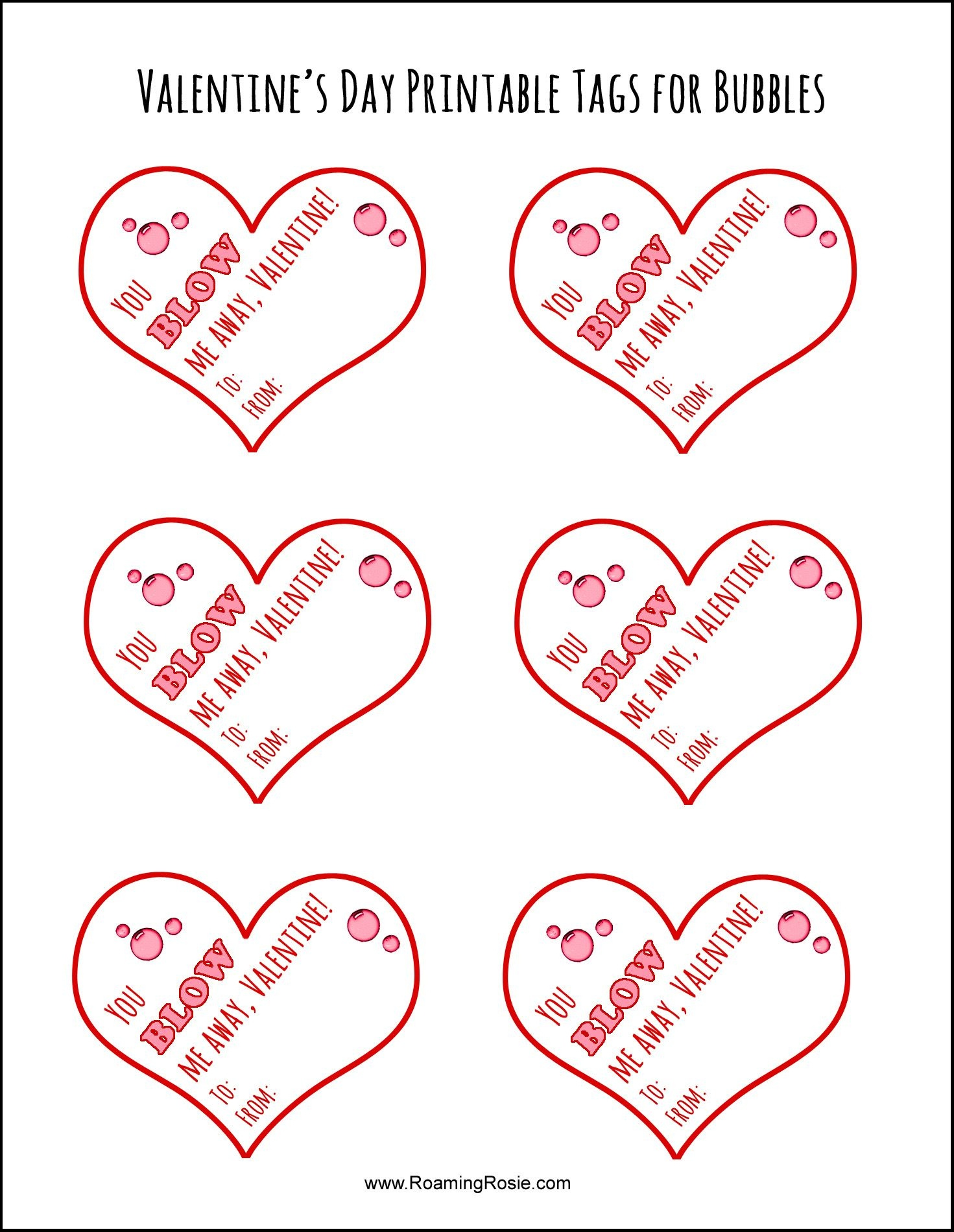 Free Printable Valentine's Day Tags For Bubbles | Valentine's Day - Free Printable Valentines Day Tags