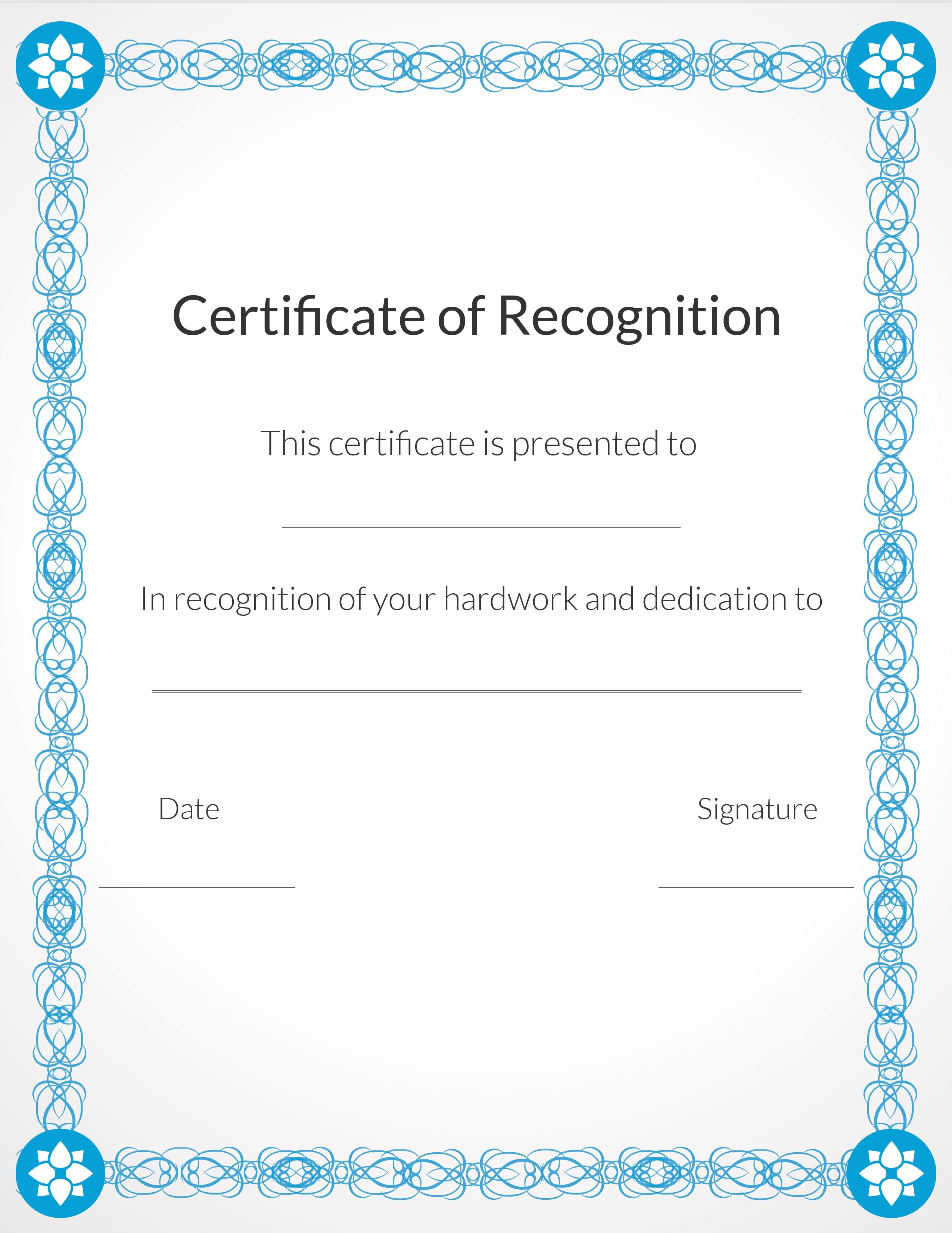 Free, Printable Volunteer Recognition And Appreciation Certificates - Free Printable Templates For Certificates Of Recognition