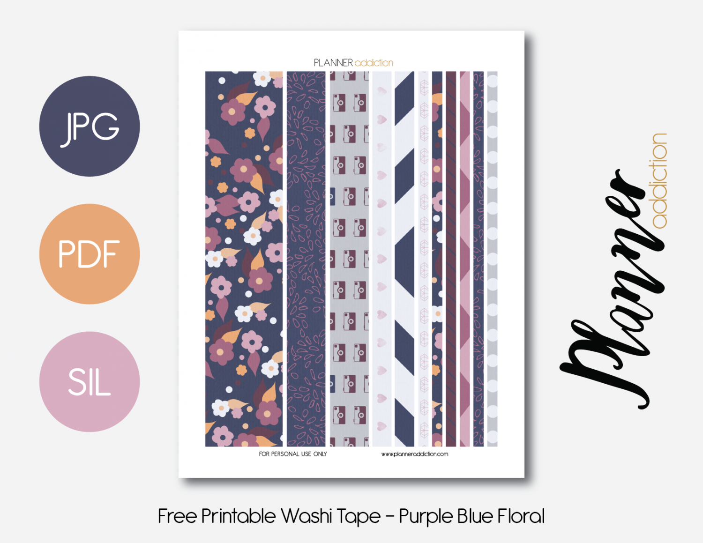 Free Printable Washi Tape - Purple Blue Floral | Planner | Washi - Free Printable Washi Tape