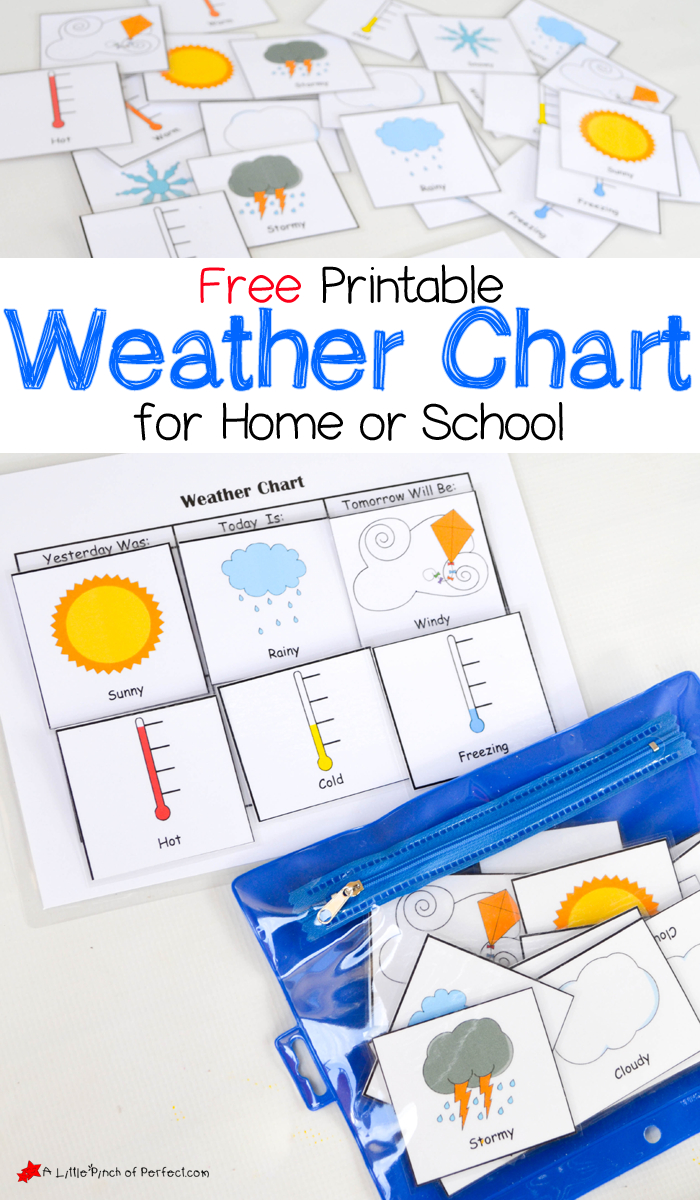 Free Printable Weather Chart For Home Or School | A Little Pinch Of - Free Printable Weather Chart For Preschool