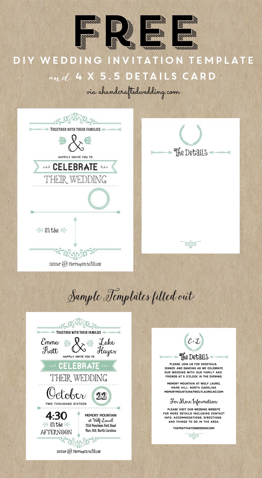 Free Printable Wedding Invitation Template | Wedding | Free Wedding - Wedding Invitation Cards Printable Free