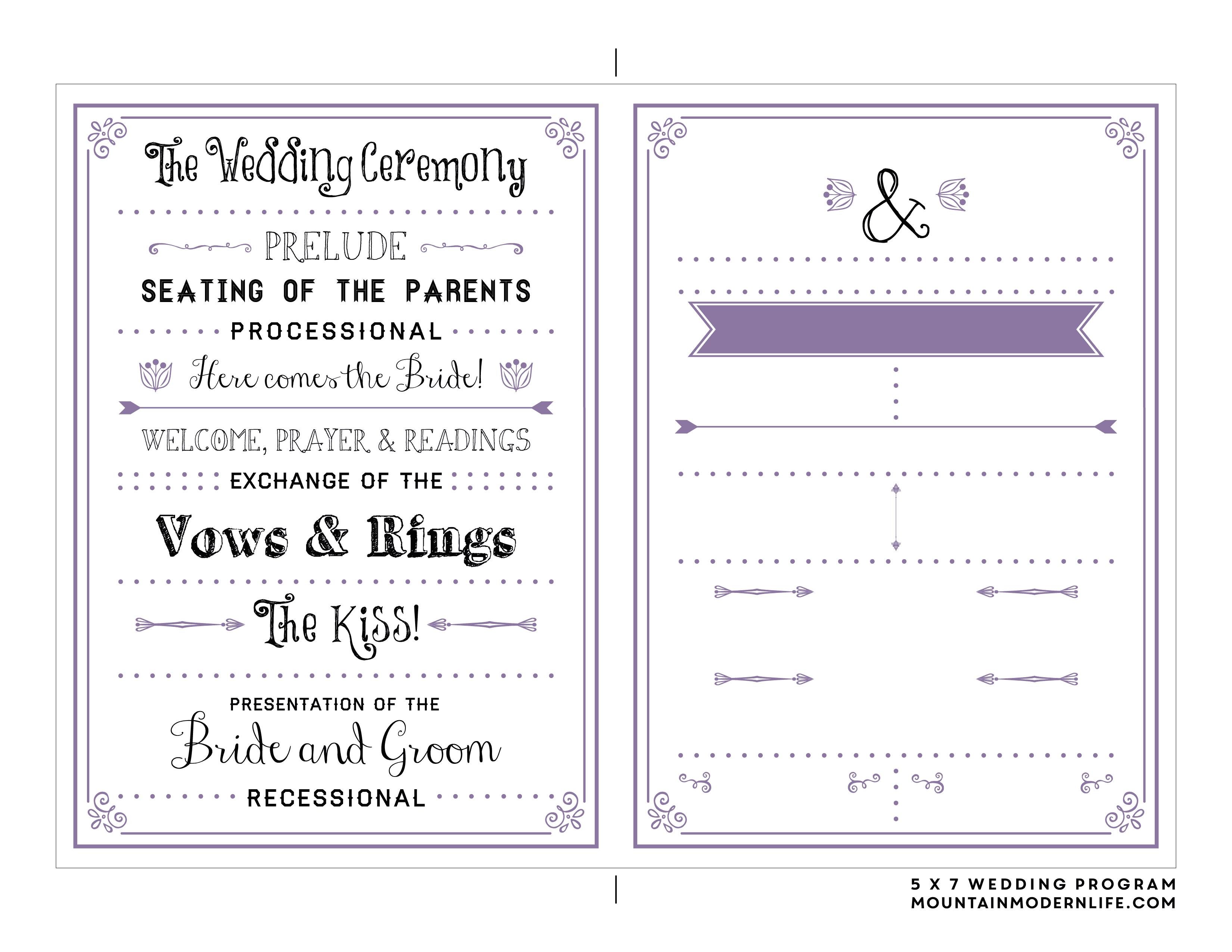 Free Printable Wedding Program | Mountainmodernlife - Free Printable Wedding Program Samples