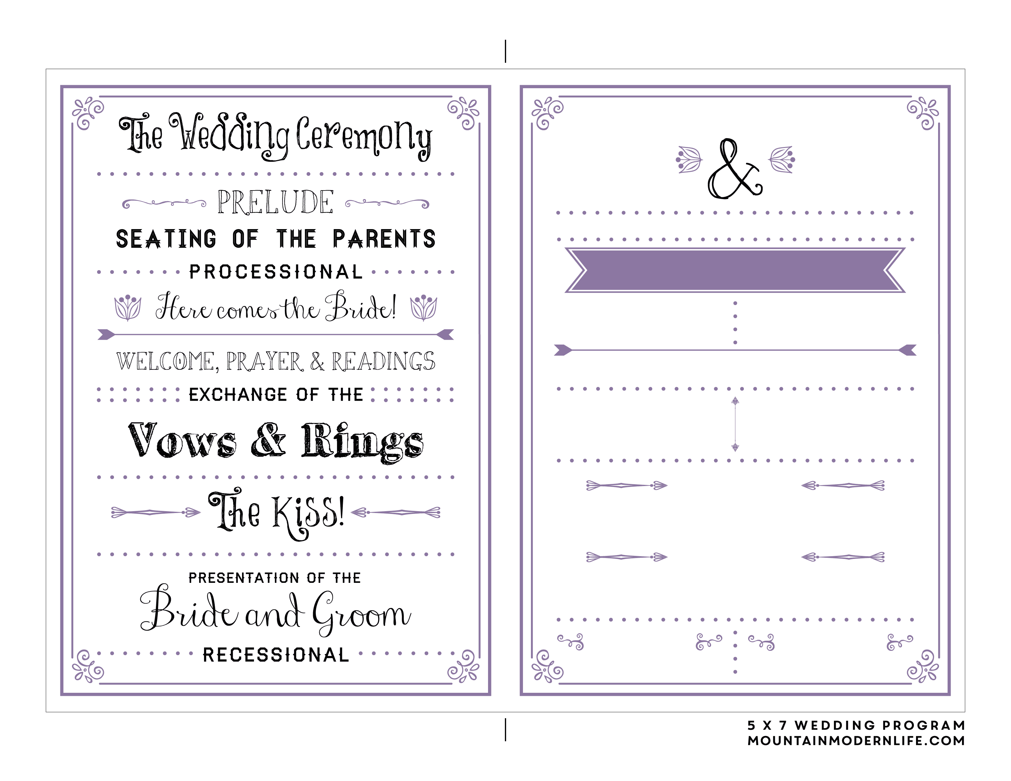 Free Printable Wedding Program | Mountainmodernlife - Free Printable Wedding Programs
