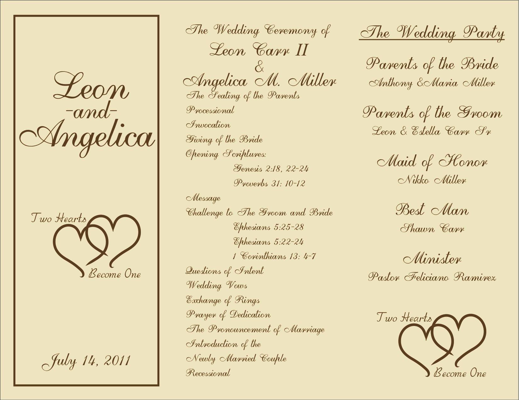 Free Printable Wedding Programs Templates | : Sample Wedding - Free Printable Wedding Program Samples