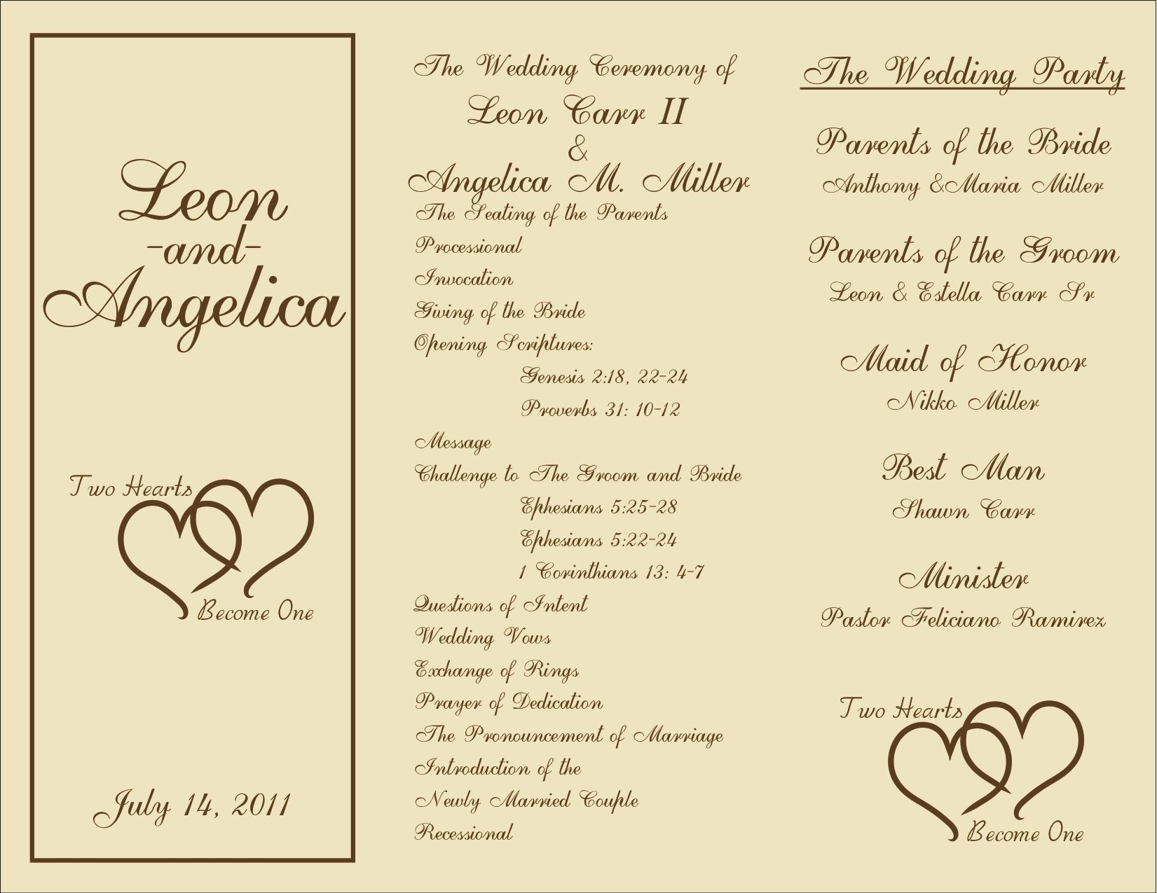 Free Printable Wedding Programs Templates   : Sample Wedding - Free Printable Wedding Program Templates