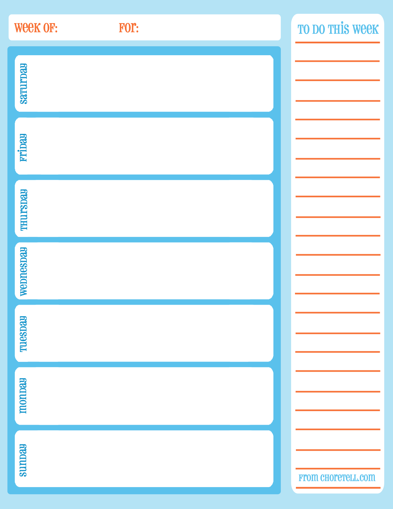 Free Printable Weekly Chore Calendar - Free Printable Downloads From - Free Printable Daily Schedule Chart