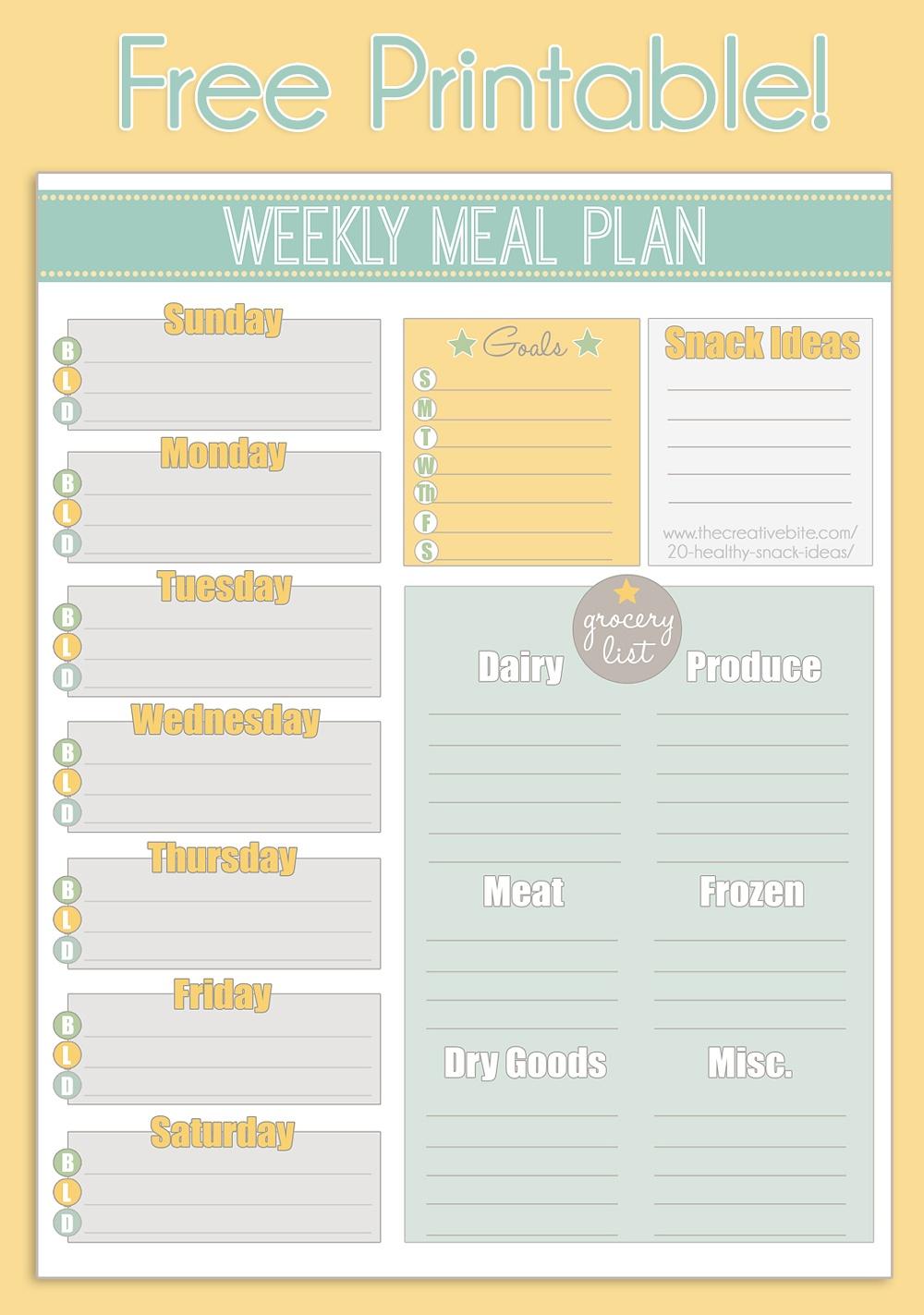 Free Printable Weekly Meal Planner + Calendar - Weekly Menu Free Printable