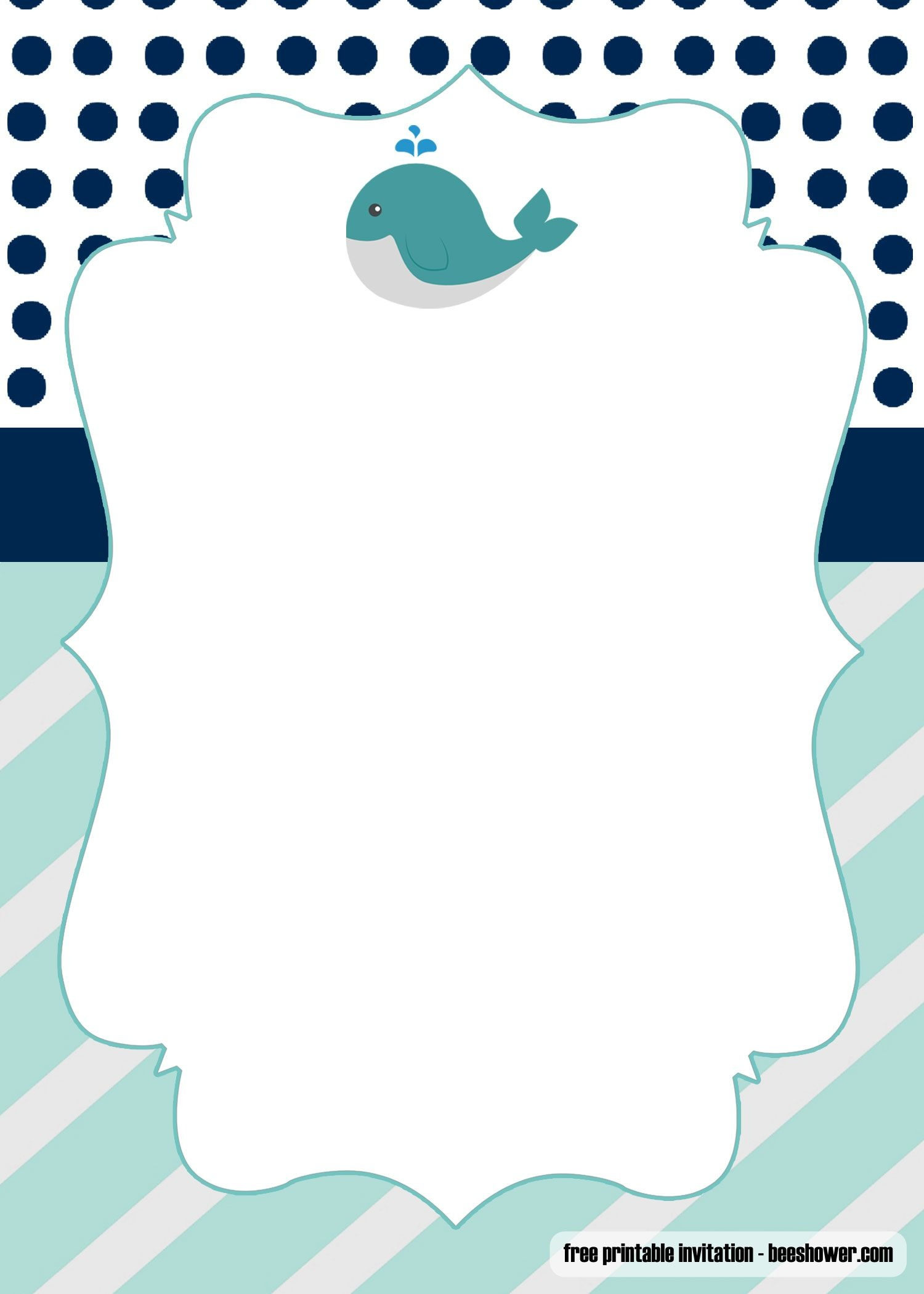 Free Printable Whale Baby Shower Invitations   Free Printable - Free Printable Turtle Baby Shower Invitations