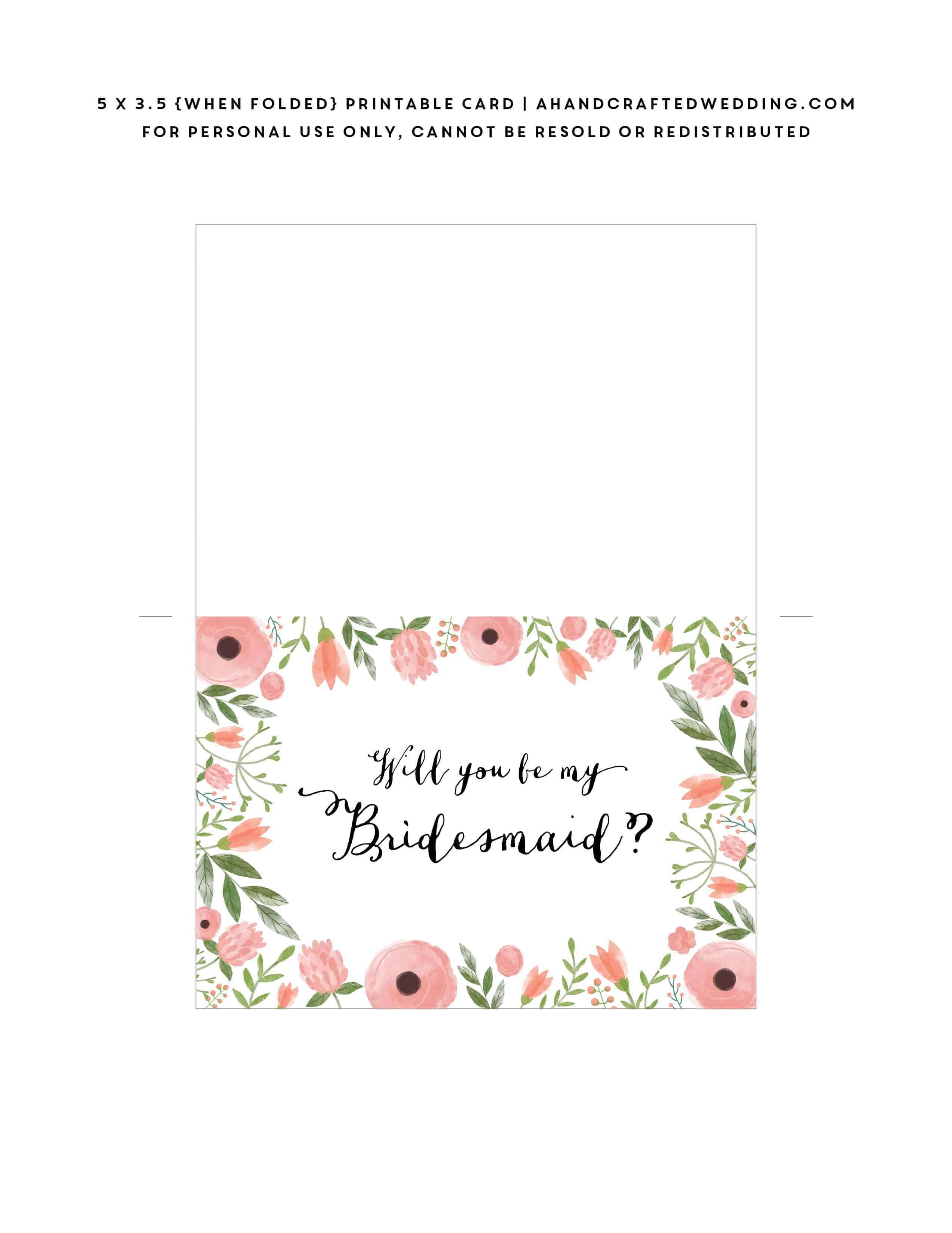 Free Printable Will You Be My Bridesmaid Card | Mountain Modern Life - Free Printable Will You Be My Maid Of Honor Card