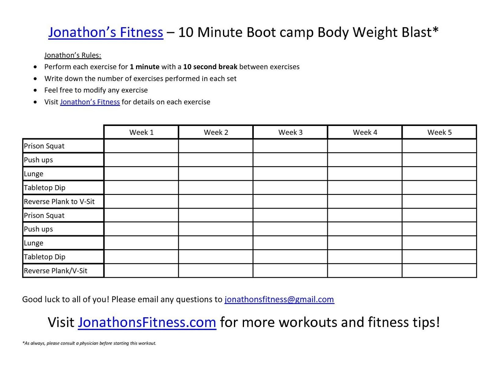 Free Printable Workout Routines . | Fitness Programs | Printable - Free Printable Workout Routines