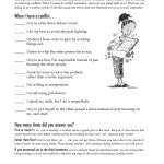 Free Printable Worksheet: When I Have A Conflict. A Quick Self Test   Free Printable Coping Skills Worksheets For Adults