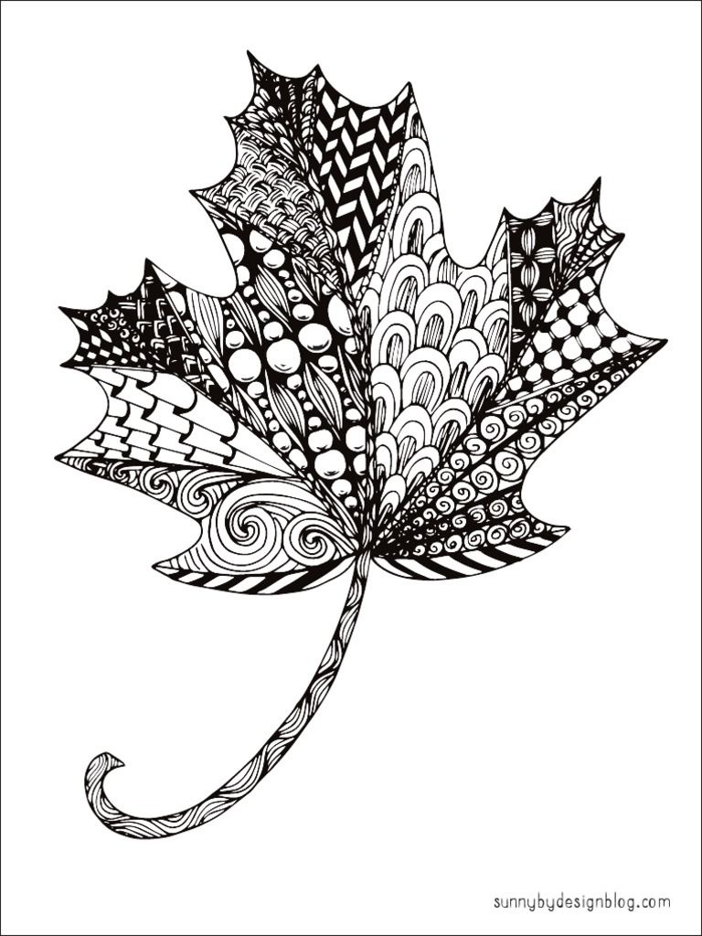 Free Printable Zentangle Maple Leaf Coloring Pagesunny Duran - Free Printable Pictures Of Autumn Leaves