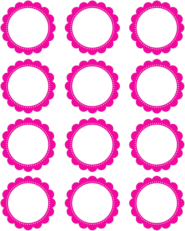 Free Printable2 Inch Hot Pink Scallop Circles   My Etsy Shoppe - Free Printable Party Circles