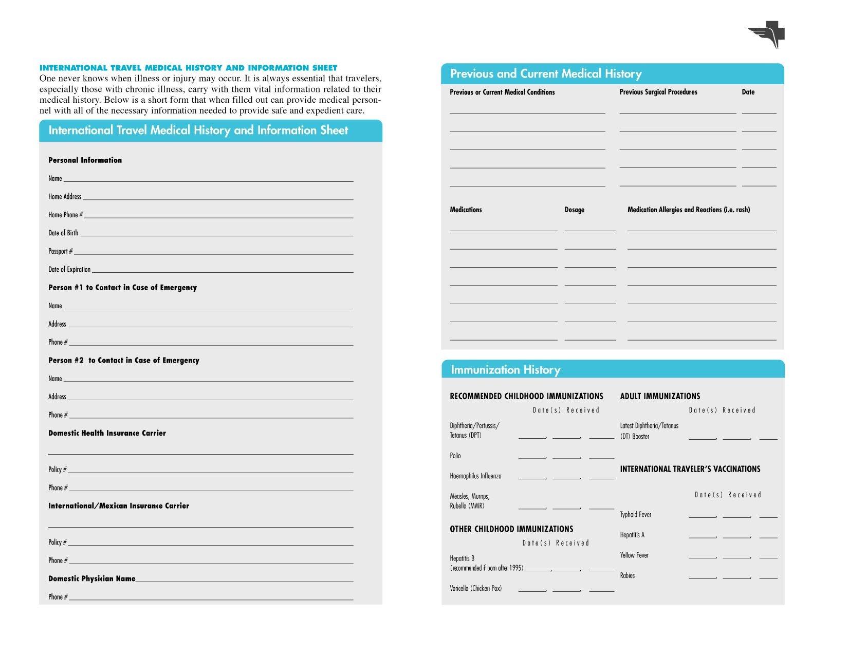Free Printables | Free Printable Family Medical History Forms - Free Printable Forms