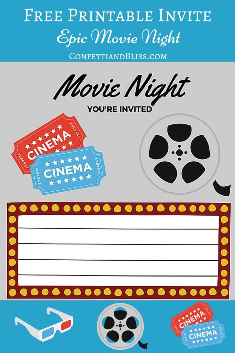 Free Printables   Printable Movie Night Invite - Movie Night Birthday Invitations Free Printable