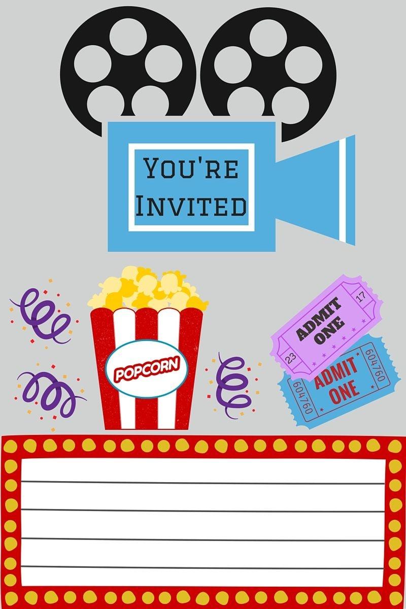 Free Printables   Printables   Movie Night Invitations, Movie Party - Movie Night Birthday Invitations Free Printable