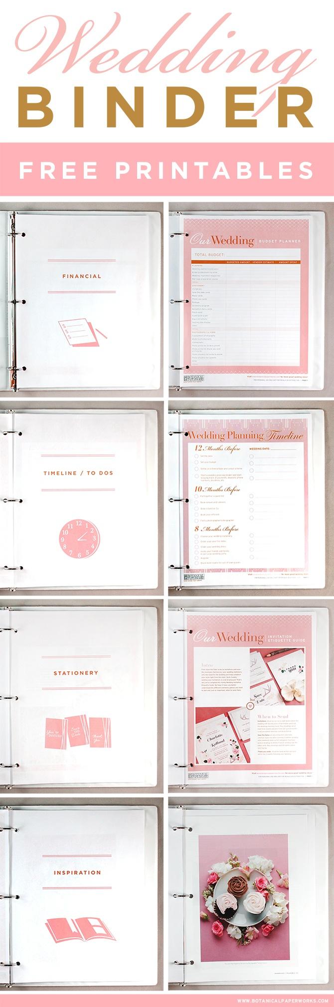 Free Printables} Wedding Planning Binder   Blog   Botanical Paperworks - Free Printable Wedding Organizer Templates