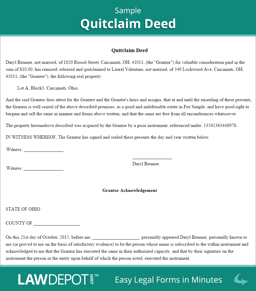 Free Quitclaim Deed - Create, Download, And Print | Lawdepot (Us) - Free Printable Quit Claim Deed Washington State Form