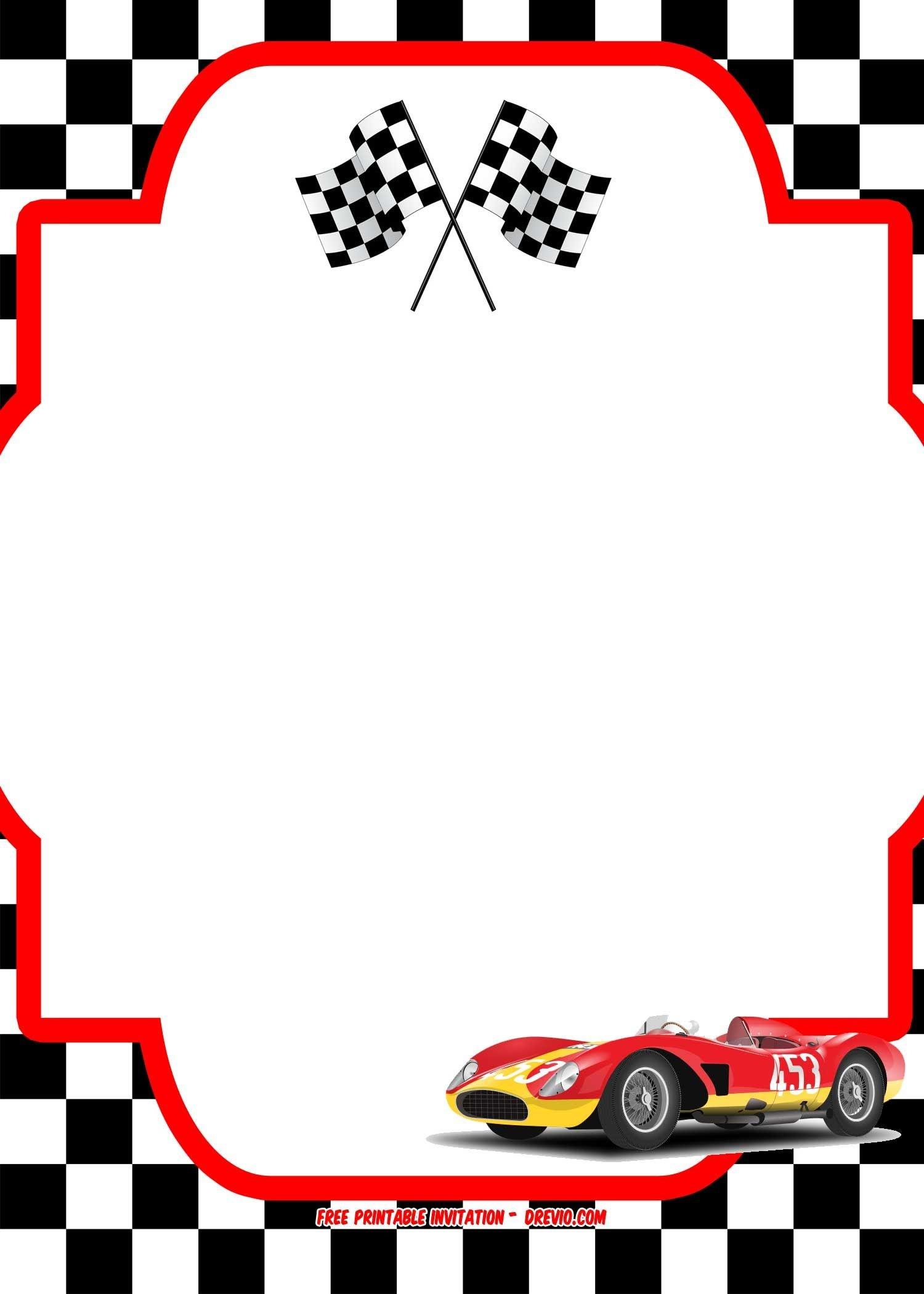 Free Race Car Birthday Invitation Template - Printable   Free - Free Printable Birthday Invitations Cars Theme