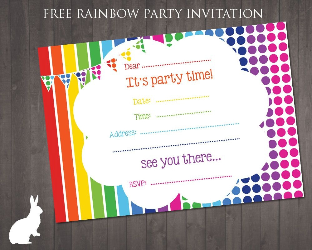 Free Rainbow Party Invitation | Ruby And The Rabbit | Rainbow Party - Make Your Own Birthday Party Invitations Free Printable