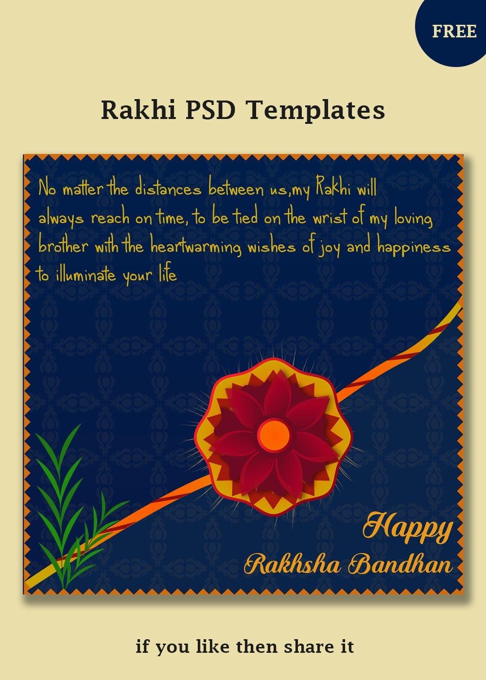 Free Rakhi Vector Templates   Social Post Design   Templates, Rakhi - Free Online Printable Rakhi Cards