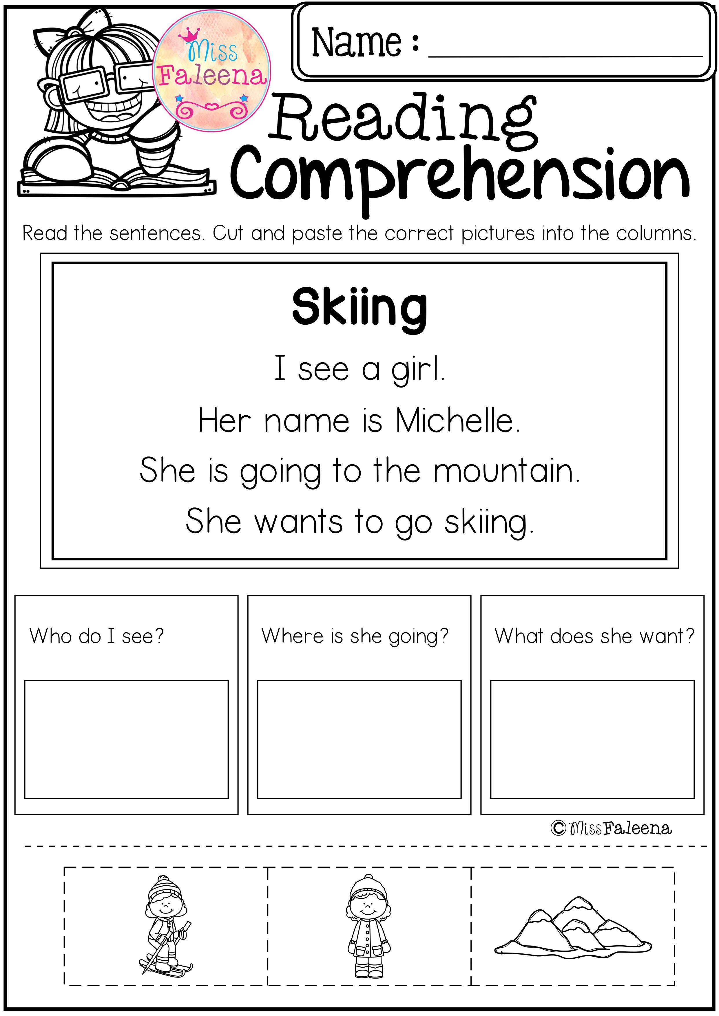 Free Reading Comprehension Cut And Paste   Literacy Resources - Free Printable Kindergarten Worksheets Cut And Paste
