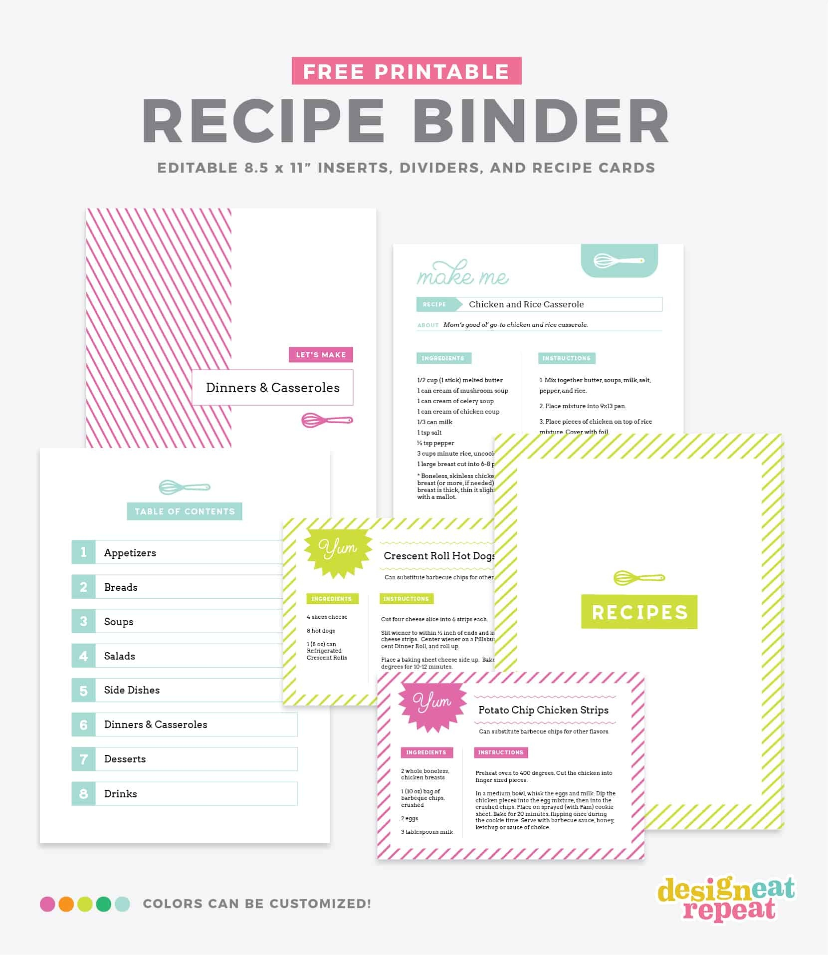 Free Recipe Binder Template - Tutlin.psstech.co - Free Printable Recipe Page Template
