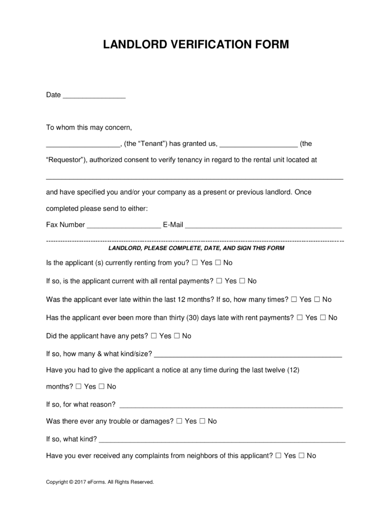 Free Rent (Landlord) Verification Form - Word | Pdf | Eforms – Free - Free Printable Landlord Forms