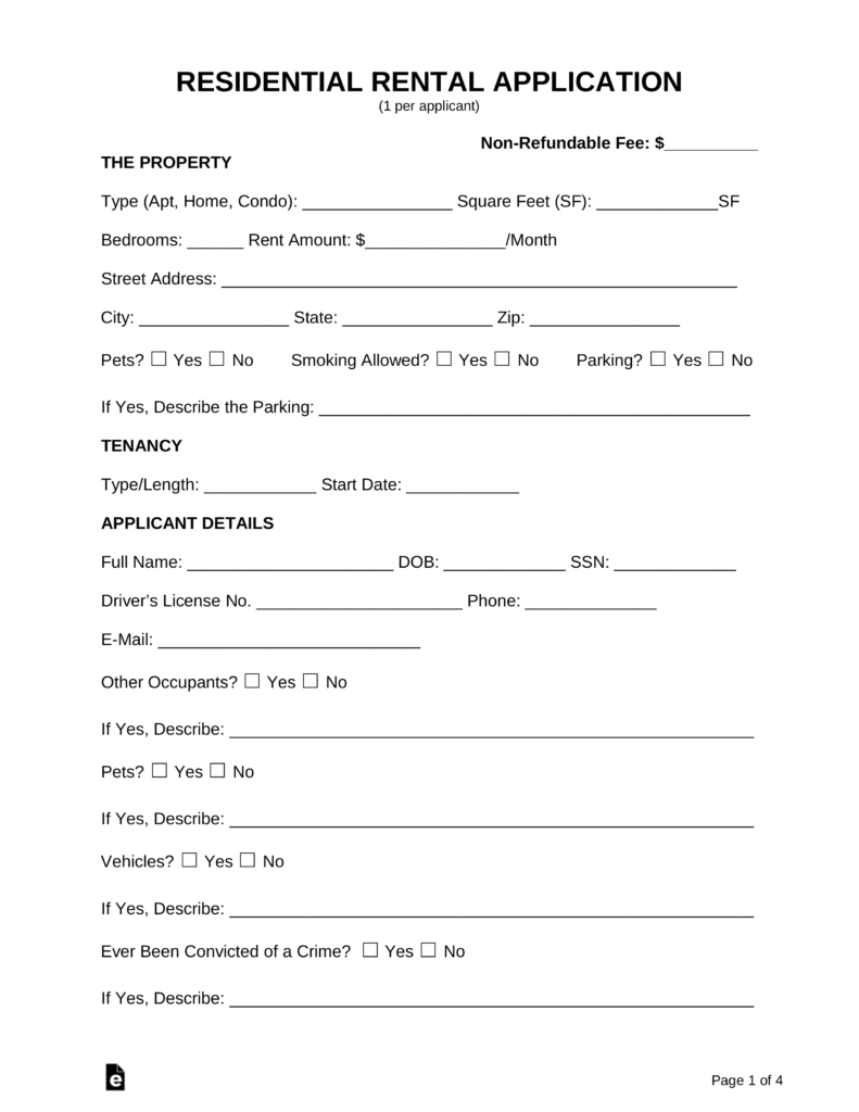 Free Rental Application Form - Pdf   Word   Eforms – Free Fillable Forms - Free Printable House Rental Application Form