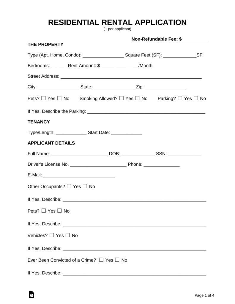 Free Rental Application Form - Pdf   Word   Eforms – Free Fillable Forms - Free Printable Landlord Forms