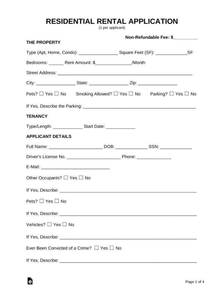 Free Printable Rental Application