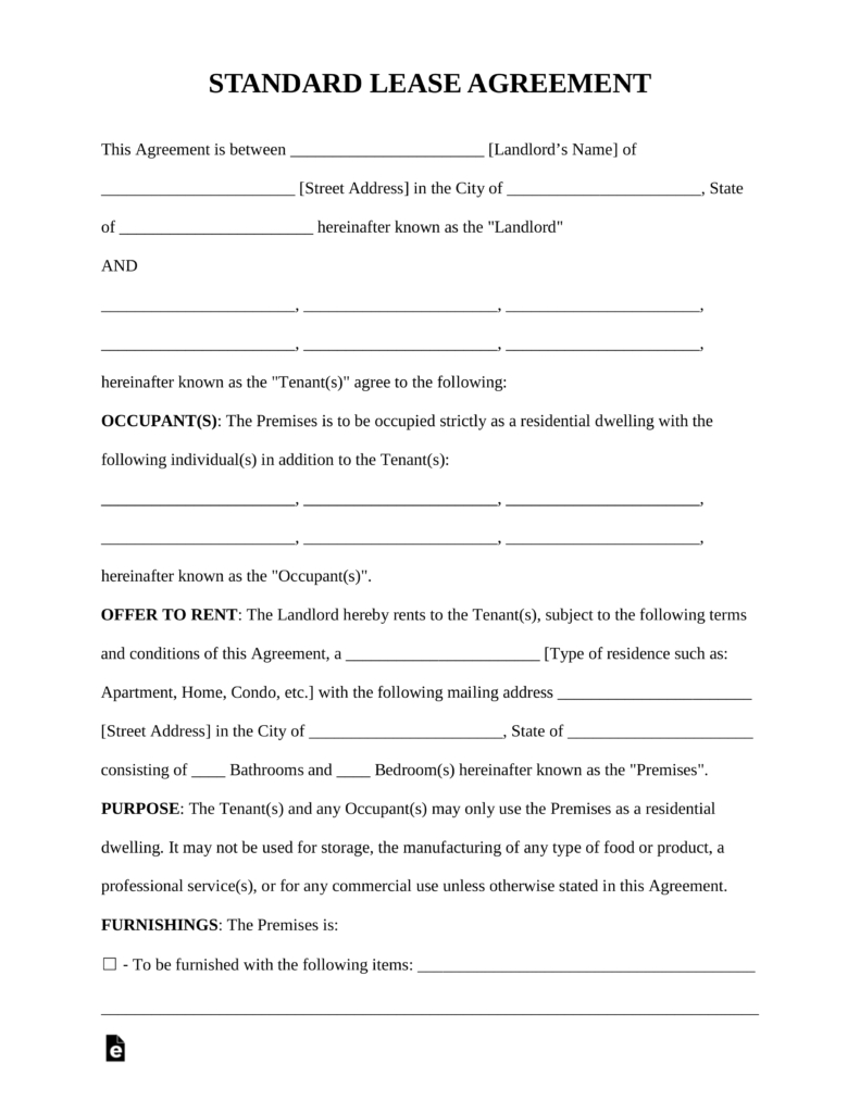 Free Rental Lease Agreement Templates - Residential & Commercial - Free Printable Lease Agreement Forms