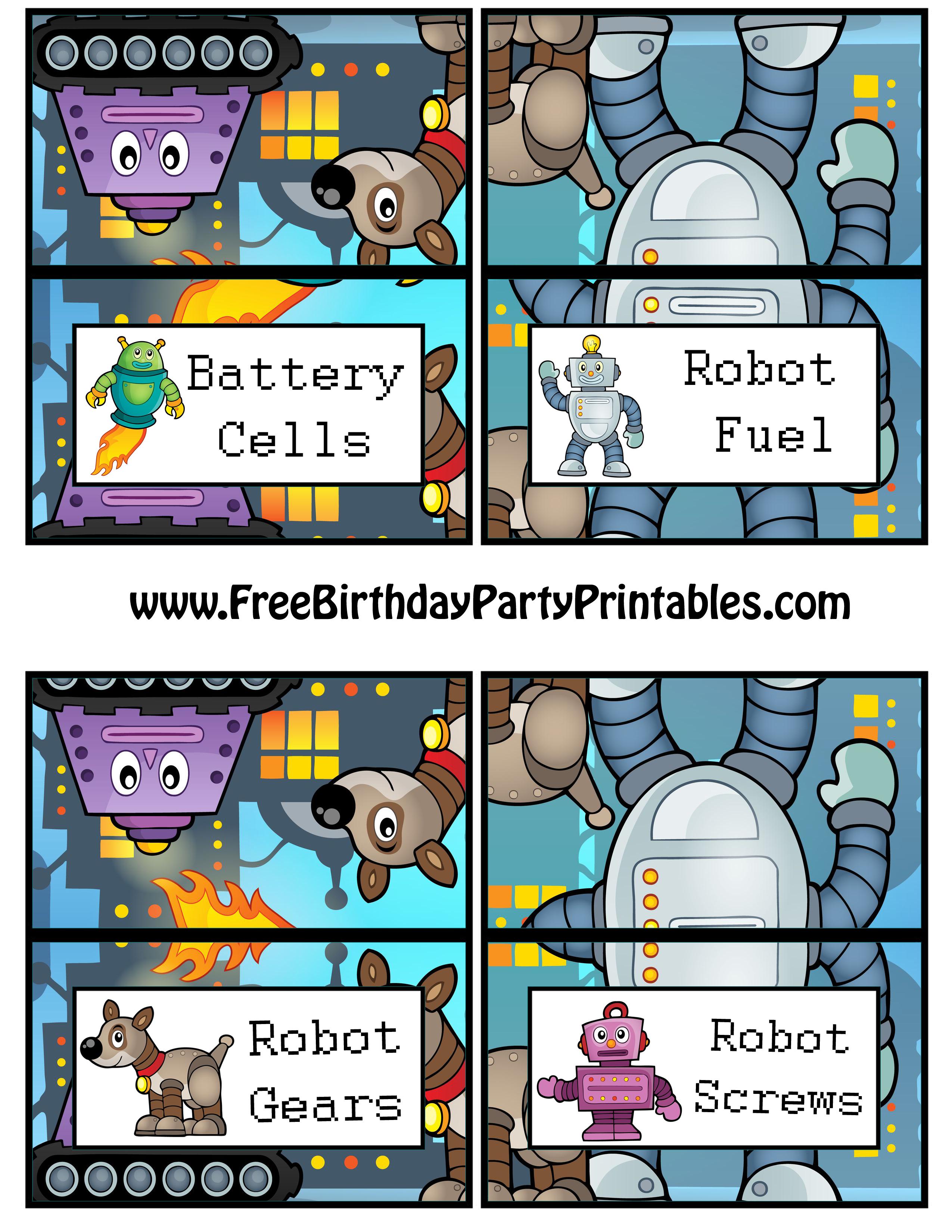 Free Robot Birthday Party Printables - Free Printable Gears