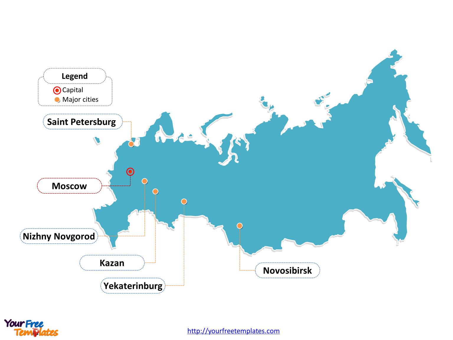 Free Russia Powerpoint Map - Free Powerpoint Templates - Free Printable Map Of Russia