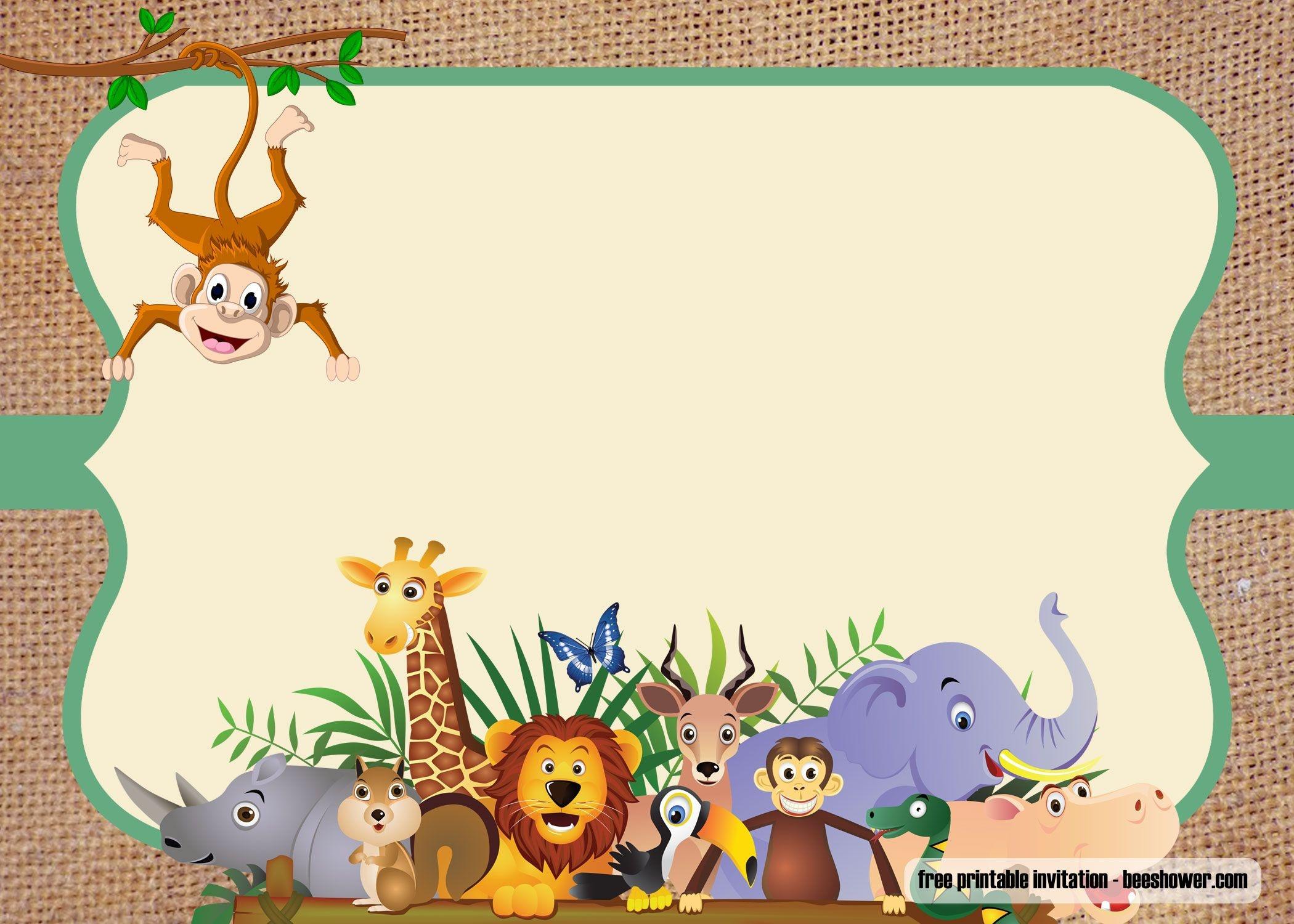 Free Safari Theme Baby Shower Invitations | Free Printable - Jungle Theme Birthday Invitations Free Printable