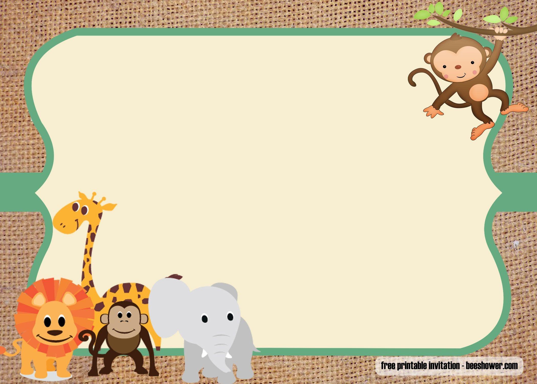 Free Safari Theme Baby Shower Invitations Templates | Free Printable - Jungle Theme Birthday Invitations Free Printable