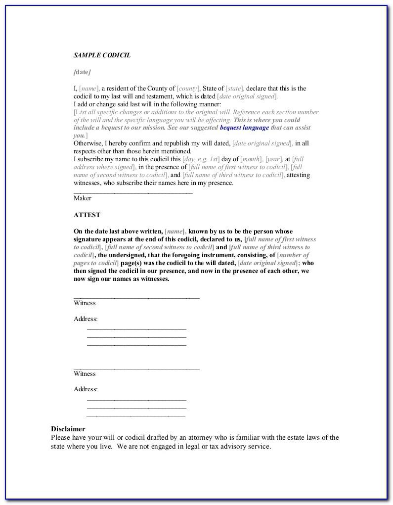 Free Sample Codicil Form - Form : Resume Examples #kbpmln1Lex - Free Printable Codicil Form
