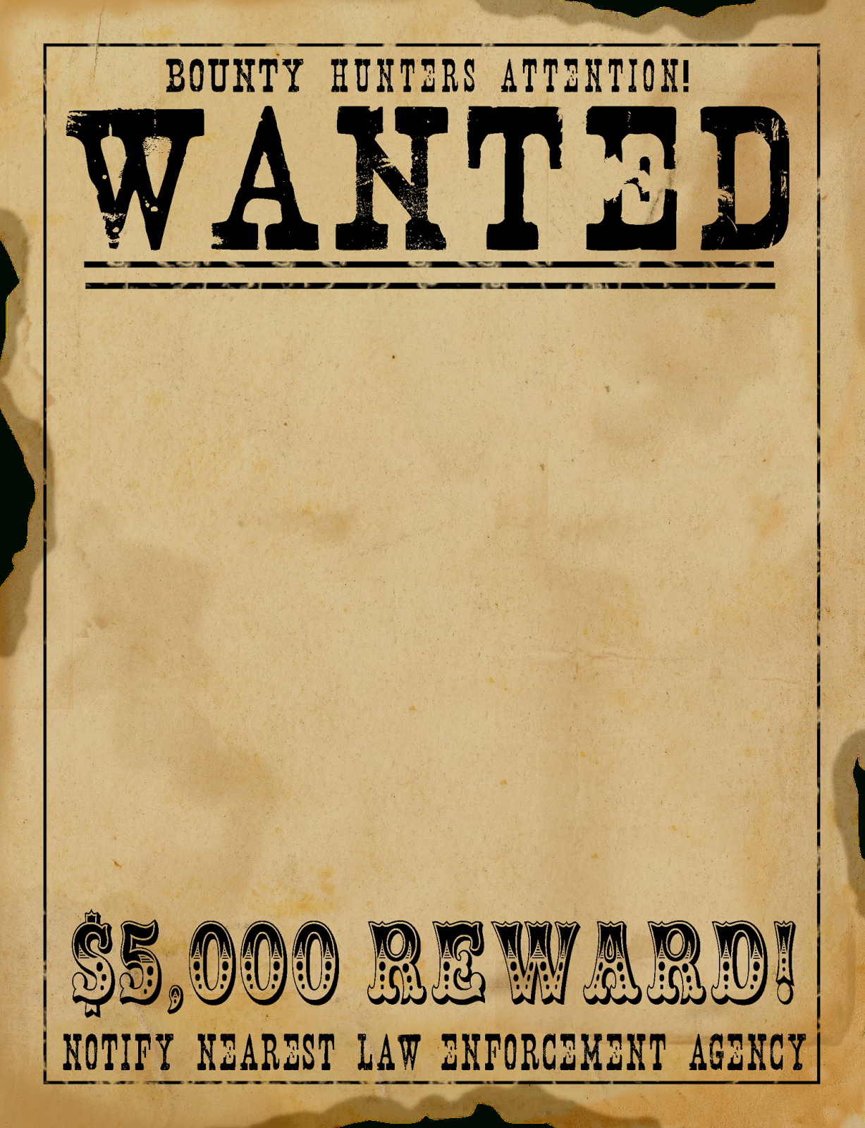 Free Scrapbook Graphics-So Many Great Ones For Digital Scrapbooking - Free Printable Wanted Poster Old West