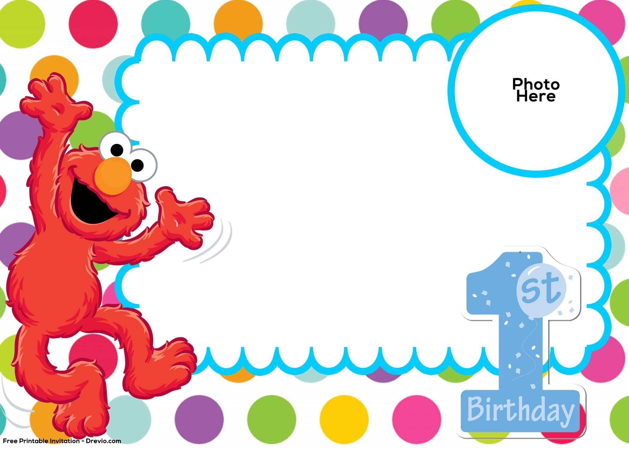 Free Sesame Street 1St Birthday Invitation | Free Printable - Free Printable Sesame Street Cupcake Toppers