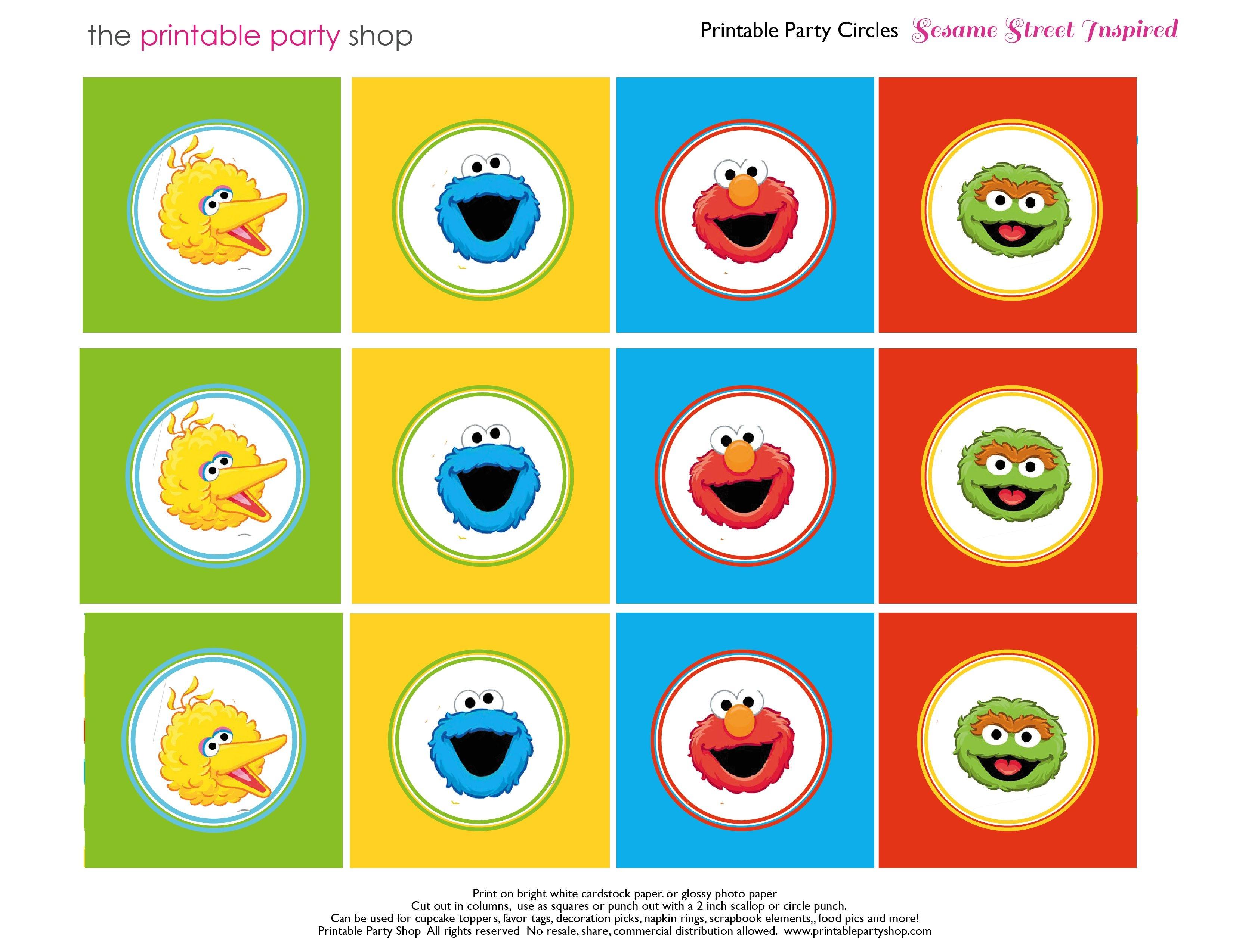 Free Sesame Street Printables   Party-Circles-Characters-Colorblocks - Free Printable Party Circles