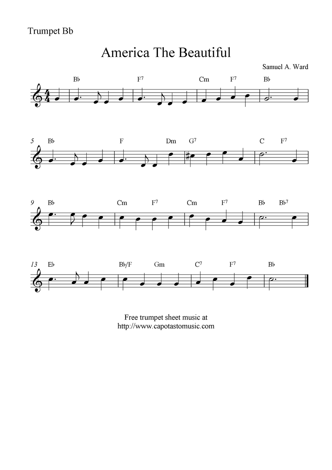 Free Sheet Music Scores: America The Beautiful, Free Trumpet Sheet - Free Printable Sheet Music For Trumpet