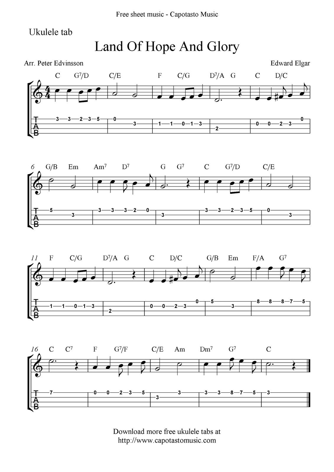Free Sheet Music Scores: Land Of Hope And Glory (Pomp And - Free Printable Sheet Music Pomp And Circumstance