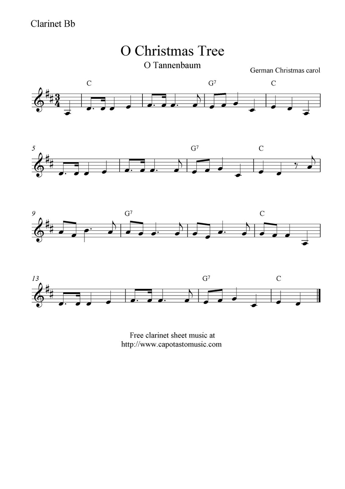 Free Sheet Music Scores: O Christmas Tree (O Tannenbaum), Free - Free Printable Clarinet Music