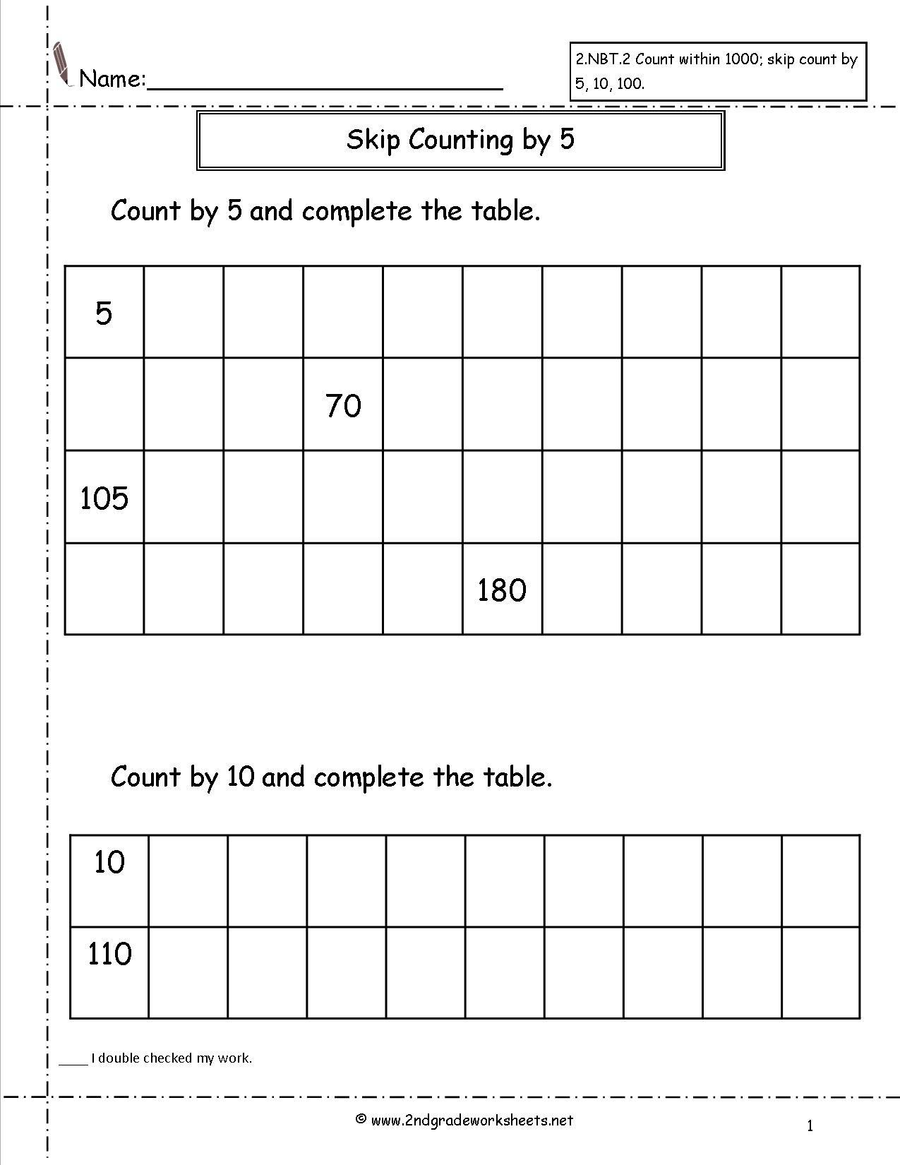 Free Skip Counting Worksheets - Free Printable Skip Counting Worksheets