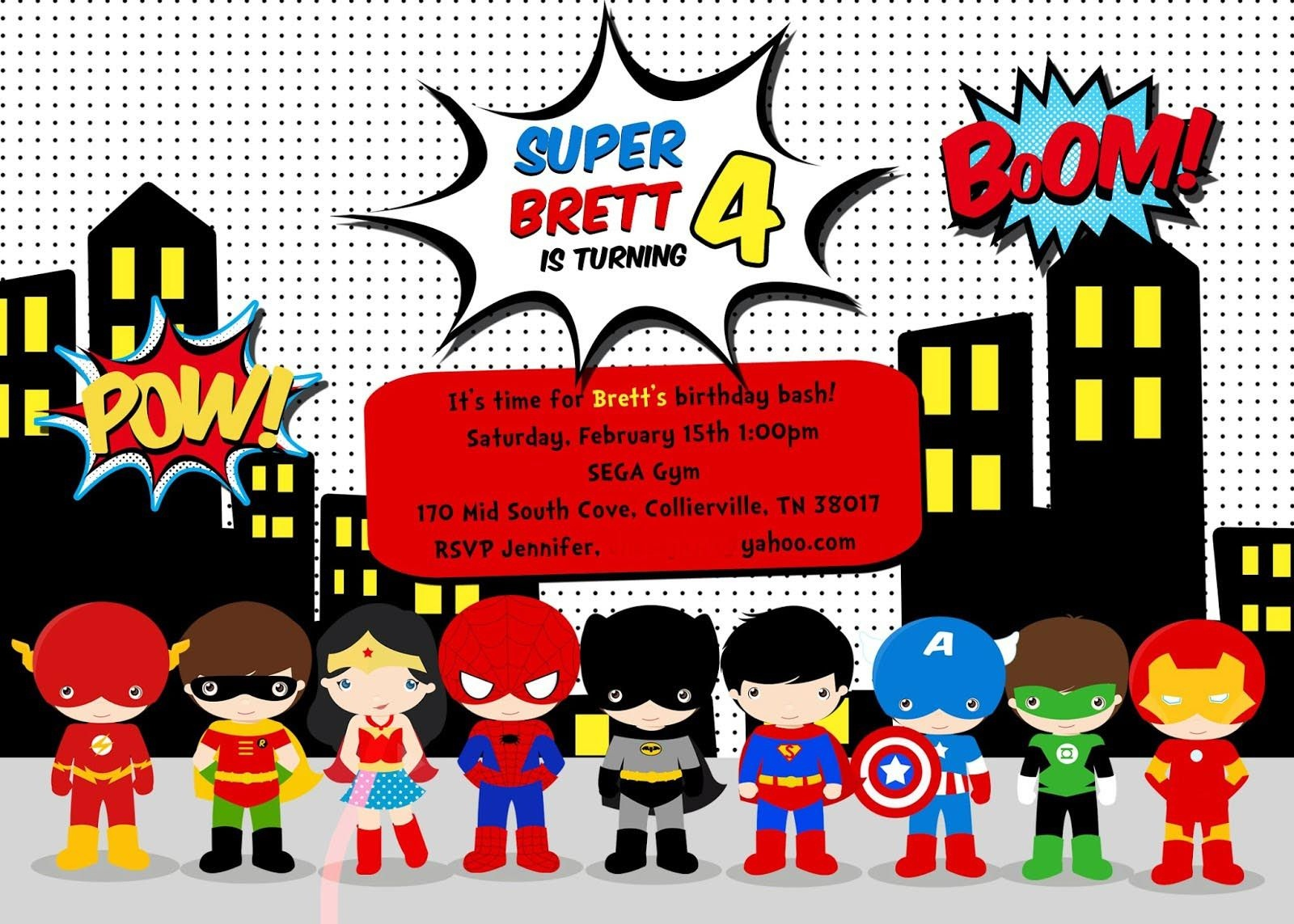 Free Superhero Birthday Party Invitation Templates | Birthday Party - Free Printable Superhero Birthday Invitation Templates