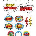 Free Superhero Pary Printables   Free Printable Superhero Photo Booth Props