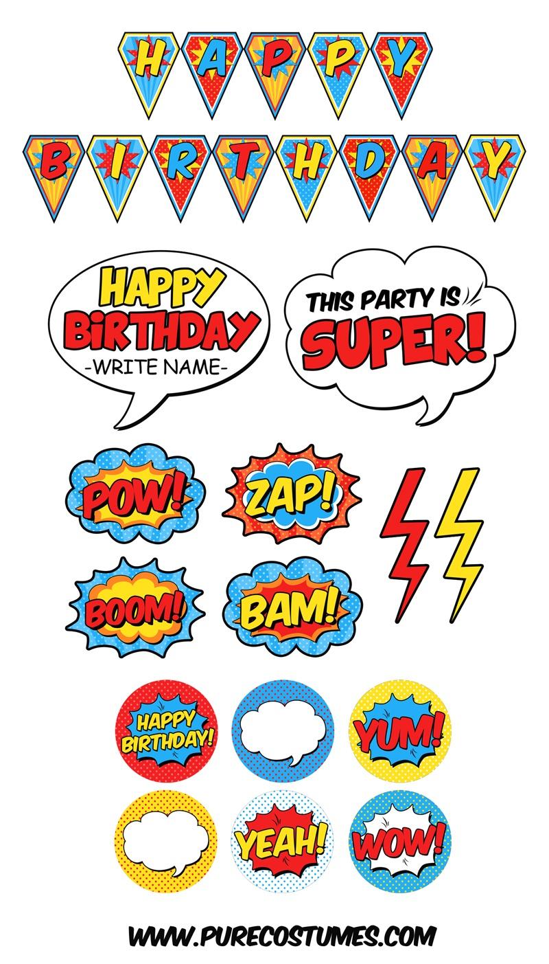 Free Superhero Pary Printables - Free Printable Superhero Photo Booth Props