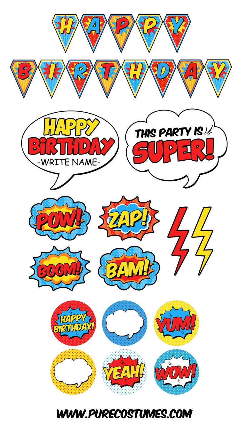 Free Superhero Pary Printables - Free Printable Superhero Pictures