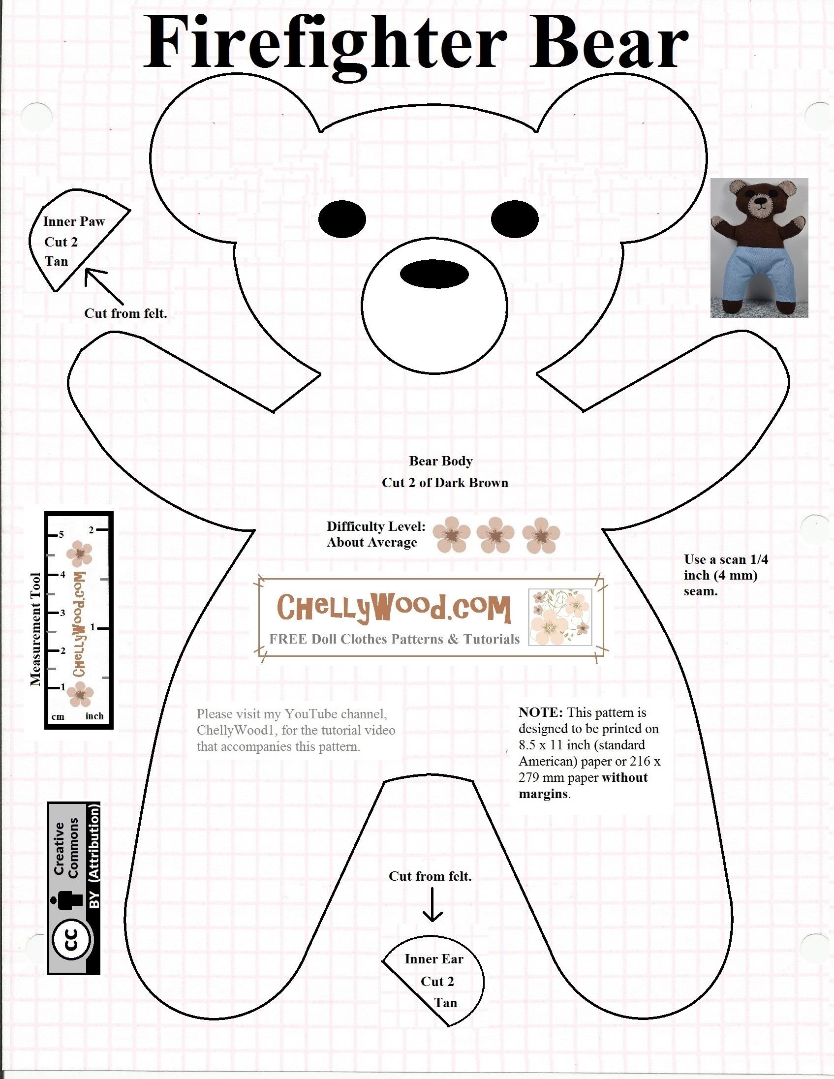 Free #teddybear #plush #toy Pattern @ Chellywood – Free - Free Printable Teddy Bear Clothes Patterns