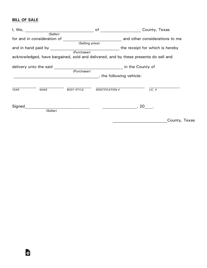 Free Texas Motor Vehicle Bill Of Sale Form - Pdf | Eforms – Free - Free Printable Automobile Bill Of Sale Template